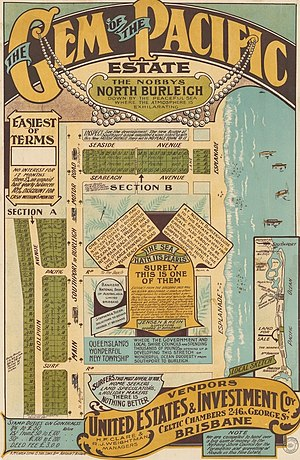Mermaid Beach, Queensland - Real estate map of Gem of the Pacific Estate, circa 1920