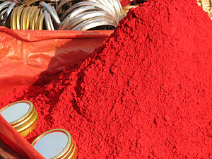 Haridwar in scriptures - Sindoor powder (vermilion) popular amongst pilgrims to the city.