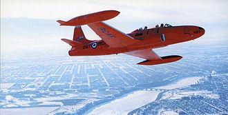 Red Knight (aerobatic team) - The Red Knight flying over Saskatoon, Saskatchewan, November 1960