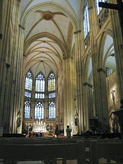 The spacious interior of Regensburg Cathedral.