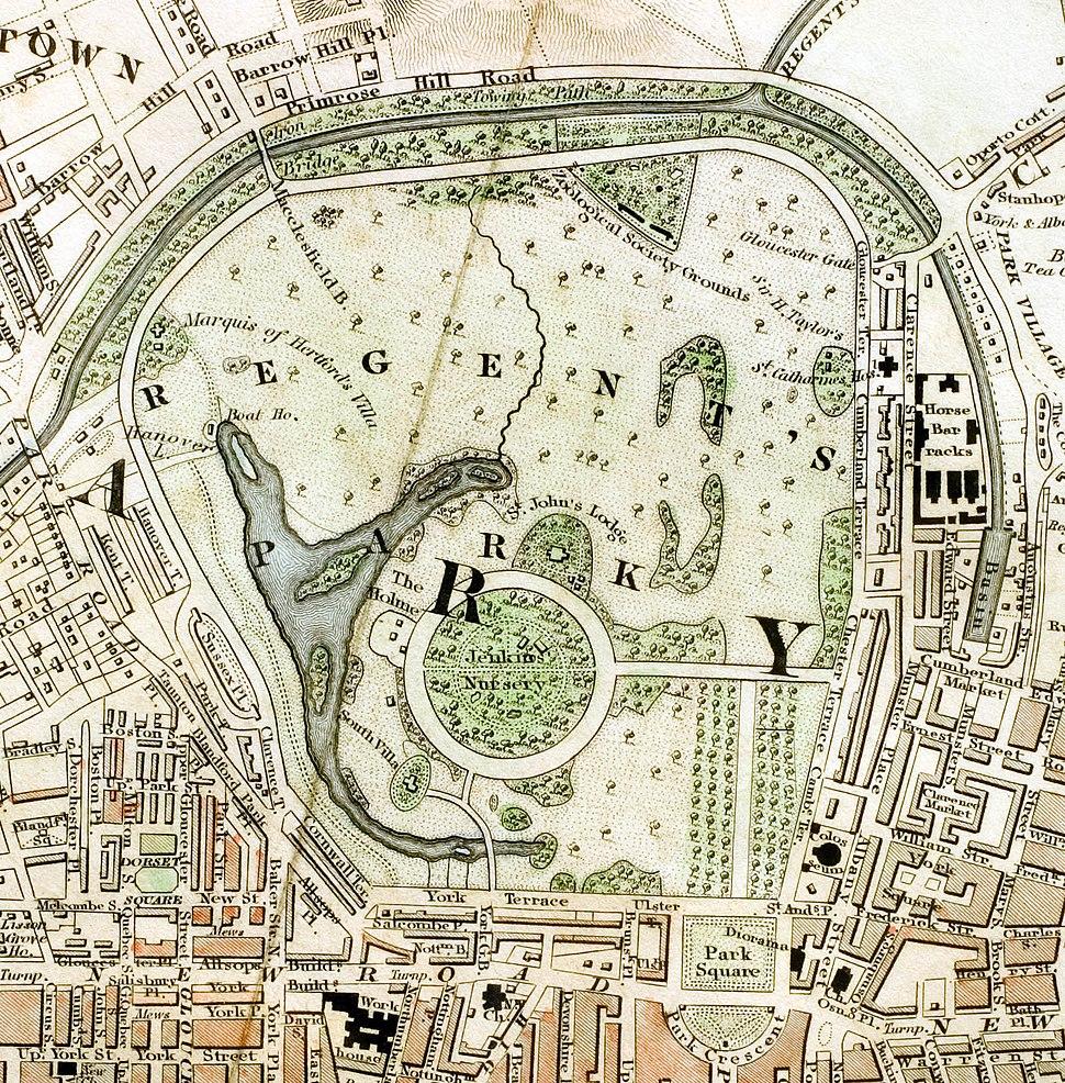 Regent%27s Park London from 1833 Schmollinger map