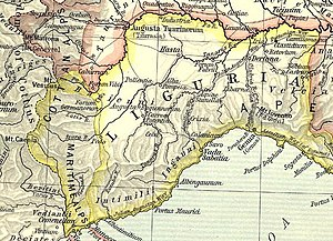 Liguria - Map of Roman Liguria, between the River Var and Magra.