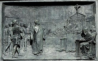 Giordano Bruno - The trial of Giordano Bruno by the Roman Inquisition. Bronze relief by Ettore Ferrari, Campo de' Fiori, Rome.