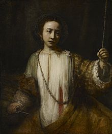 A painting of a woman in a flowing, loose garment and a massive golden skirt