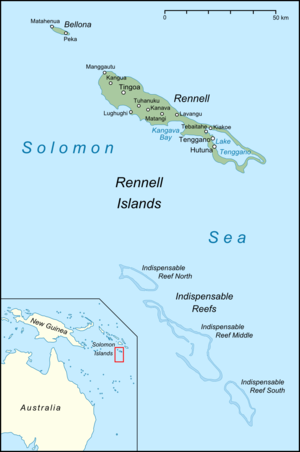 Rennell Island - Current map of the Rennell Islands
