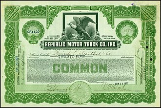 Republic Motor Truck Company - Share of the Republic Motor Truck Company, issued 19. June 1922