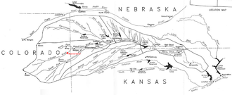 Battle of Beecher Island - A map of the Republican River and its tributaries, with the location of Beecher Island highlighted in red.