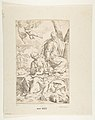 Rest on the flight into Egypt, Mary holding the infant Christ while St. Joseph hands him a fruit MET DP815022.jpg