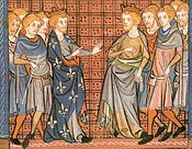 Richard I of England and Philip II of France, from a 14th century illuminated manuscript.