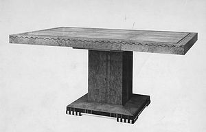 Bath Cabinet Makers - Table in walnut with black insets, designed by CA Richter
