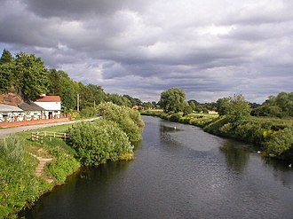 England–Wales border - The River Dee marking the border between Farndon, England, to the left and Holt, Wales, to the right