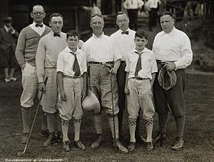 Robert L. Moran - Golfing at Lake Placid, left to right, Judge John McInery (with sons), Robert L. Moran, Governor Smith, Judge W.F. Haggerty and Senator J.J. Hoey.