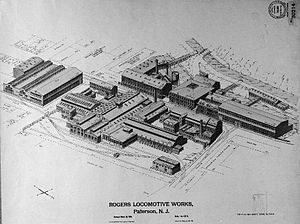 Rogers Locomotive and Machine Works - An aerial view drawing of the Rogers Locomotive Works plant on March 28, 1906