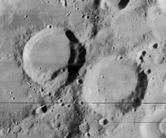 Rost (crater) - Another view from Lunar Orbiter 4 (black lines are artifact of image reprocessing)