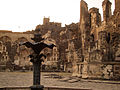 Ruins of Golkonda Fort with fountain in front.jpg