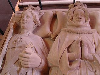 Rupert, King of Germany - Rupert and his wife Elisabeth of Hohenzollern, detail from their tomb in the Church of the Holy Spirit, Heidelberg