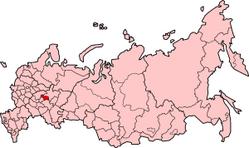 러시아내의 마리・엘 공화국의 위치의 위치도