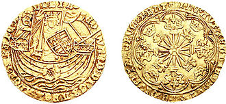 Noble (English coin) - Edward standing facing, holding sword and shield, in ship, E on banner at stern, rose on hull, quatrefoil of four pellets after FRAnC, pellet to lower left of shield