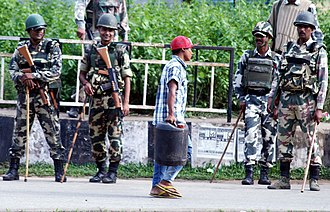 Central Reserve Police Force - CRPF personnel during a bandh in Assam, 2013