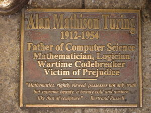 The Turing memorial plaque in Sackville Park