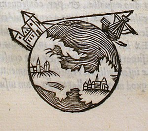 Earth radius - 13th century illustration of Earth in De sphaera mundi.