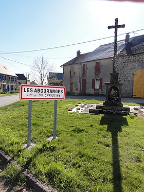 Sainte-Christine (Puy-de-Dôme) wayside cross and city limit sign Les Arbouranges.JPG