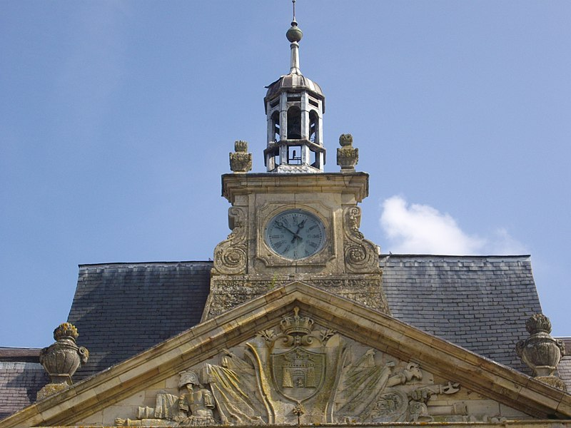 Town hall of Sainte-Menehould (Marne, France), pediment, clock and ridge turret