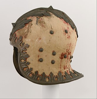 Sallet - Light Italian celata (sallet) c. 1460, covered with velvet and decorated with repoussé gilt copper edging and crest