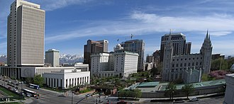 Buildings and sites of Salt Lake City - Central downtown Salt Lake City as viewed from the north facing south