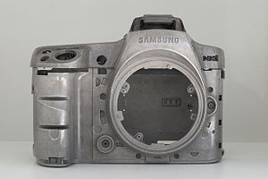 Magnesium alloy - Camera chassis of a Samsung NX1, made of magnesium alloy