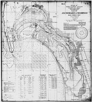 Naval Base San Diego - 1923 military map of San Diego Bay, depicting anchorages and moorings, various military facilities, Coronado, National City, and the surrounding area.