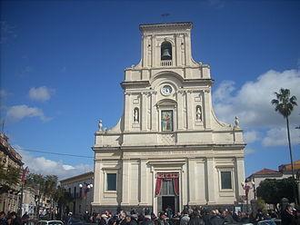 San Giovanni la Punta - Facade of the 14th century Duomo, located in San Giovanni la Punta's central square.