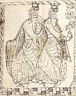 Ferdinand II of León - Sancho III of Castile and Ferdinand, from a Privilegium Imperatoris of Alfonso VII of León and Castile.