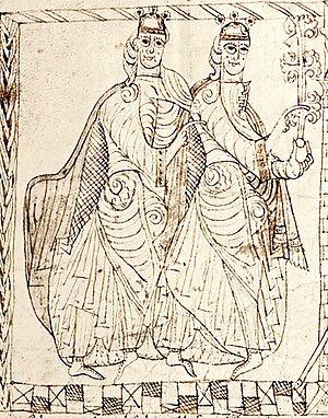 Ferdinand II of León - Sancho III of Castile and Ferdinand, from a Privilegium Imperatoris of Alfonso VII of León and Castile.