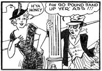 Final page of the Tijuana bible Chris Crusty, which borrowed the syndicated comic strip character Chris Crusty created by Bill Conselman and Charles Plumb for a topper strip which ran above their Ella Cinders.