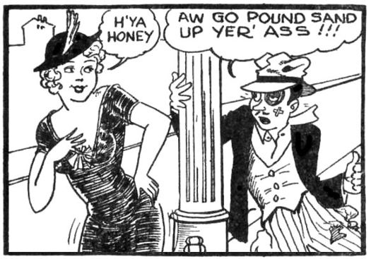 "Final page of the Tijuana bible Chris Crusty, drawn by ""Mr. Prolific"", which borrowed the syndicated comic strip character Chris Crusty created by Bill Conselman and Charles Plumb for a topper strip which ran above their Ella Cinders SandUpYerAss.jpg"