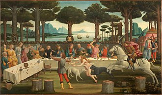 The Decameron - The Banquet in the Pine Forest (1482/3) is the third painting in Sandro Botticelli's series The Story of Nastagio degli Onesti, which illustrates events from the Eighth Story of the Fifth Day.