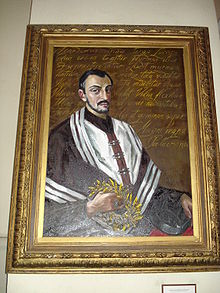 Portrait of poet Sarbevius (by Lithuanian painter Sofija Veiverytė, born 1926) in the Church of St. Johns (Vilnius). 2007