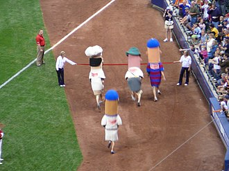Sausage Race - The sausages near the finish line of the Sausage Race.