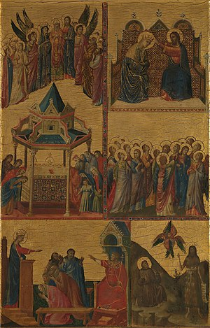 Diptych by Giovanni da Rimini - Image: Scenes from the Lives of the Virgin and other Saints, by Giovanni da Rimini (National Gallery)
