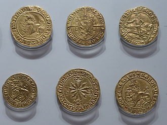"""Unicorn (coin) - Scottish """"unicorns"""" from the reigns of James III (top left) and James IV (bottom right)"""