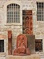 Sculpture of Patriarch Archbishop Nourhan Manougian and Armenian ston cross 01.jpg