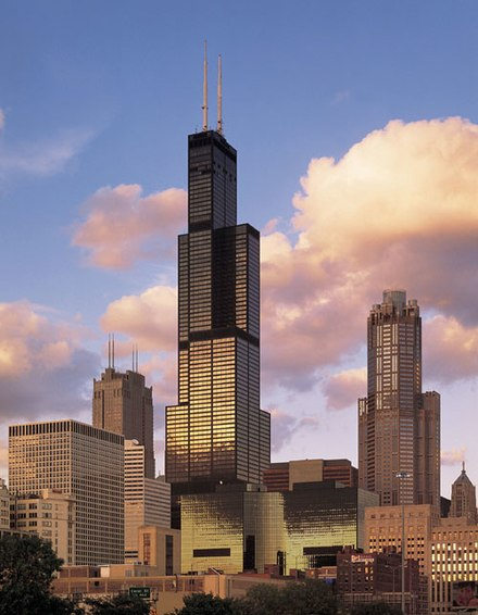 Willis Tower, finished in 1973, introduced the bundled tube structural design and was the world's tallest building until 1998 Sears Tower ss.jpg