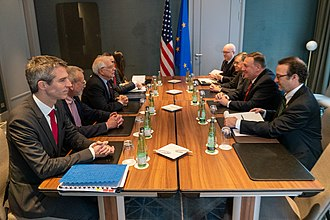 EU High Representative for Foreign Affairs Josep Borrell Fontelles (left center) meets with US Secretary of State Mike Pompeo (right center) in 2020 Secretary Pompeo Meets with High Representative Borrell Fontelles (49407785783).jpg