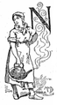 Servant and illuminated capital N from Nellie Bly, Trying to Be a Servant (1887).png