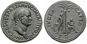 "Vespasian - Vespasian sestertius, struck in 71 to celebrate the victory in the first Jewish-Roman war. The legend on the reverse says: IVDEA CAPTA, ""Judaea conquered""."