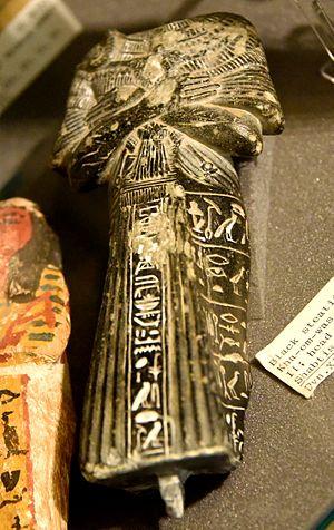 Khaemweset - Shabti of Khaemweset (Khamwaset, Kha-em-was), son of Ramesses II. The head is missing. Black steatite. 19th Dynasty. From Egypt. The Petrie Museum of Egyptian Archaeology, London