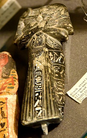 Khaemweset - Shabti of Khaemweset (Khamwaset, Kha-em-was), son of Ramesses II. The head is missing. Black steatite. 19th Dynasty. From Egypt. The Petrie Museum of Egyptian Archaeology, London