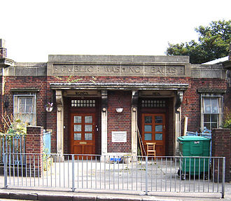 Shacklewell - The entrance to Shacklewell Washing Baths, September 2005.