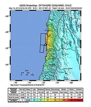 2015 Illapel earthquake - USGS ShakeMap of the earthquake